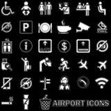 Icone dell'aeroporto del modello allineate bianco Fotografia Stock