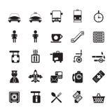 Icone dell'aeroporto, di viaggio e del trasporto della siluetta Fotografia Stock