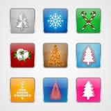 Icone dell'albero di Natale Fotografia Stock