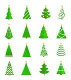 Icone dell'albero di Natale piane Fotografia Stock Libera da Diritti