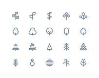 Icone dell'albero Linea serie Immagine Stock