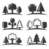 Icone dell'albero messe su fondo bianco Vettore Fotografia Stock