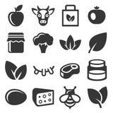 Icone dell'alimento biologico e dell'azienda agricola messe Vettore Fotografie Stock