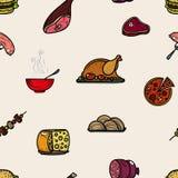 Icone dell'alimento colorate modello senza cuciture Fotografia Stock