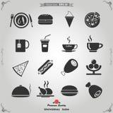 Icone dell'alimento e della cucina di vettore messe per il web Fotografie Stock