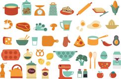 Icone dell'alimento ed illustrazioni - raccolta di vettore Immagine Stock