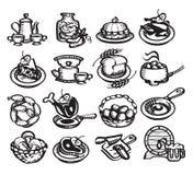 Icone dell'alimento. Illustrazione di vettore Fotografie Stock Libere da Diritti