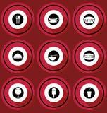 Icone dell'alimento nella progettazione piana Fotografie Stock Libere da Diritti