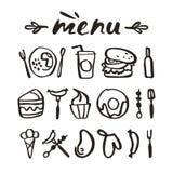 Icone dell'alimento nello stile disegnato a mano Immagine Stock