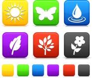 Icone dell'ambiente della natura sui tasti quadrati Fotografia Stock