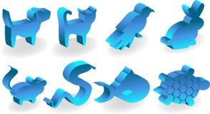 Icone dell'animale domestico 3D Fotografie Stock