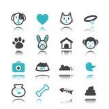 Icone dell'animale domestico con la riflessione royalty illustrazione gratis