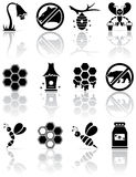 Icone dell'ape Fotografie Stock Libere da Diritti