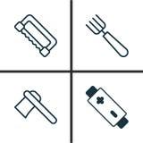 Icone dell'apparato messe Raccolta di carpenteria, alcalino, del tomahawk e di altri elementi Inoltre comprende i simboli come illustrazione vettoriale