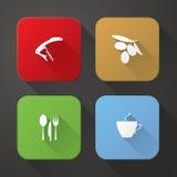 Icone dell'applicazione della bevanda e dell'alimento Fotografia Stock Libera da Diritti
