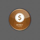 Icone dell'applicazione di legno dei soldi illustrazione vettoriale