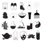 Icone dell'aroma e della stazione termale messe Immagini Stock Libere da Diritti