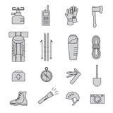 Icone dell'attrezzatura di alpinismo Immagine Stock