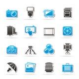 Icone dell'attrezzatura di fotografia Fotografia Stock
