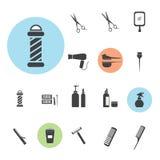 Icone dell'attrezzatura di lavoro di parrucchiere Fotografie Stock