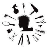 Icone dell'attrezzatura di lavoro di parrucchiere Fotografie Stock Libere da Diritti