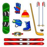 Icone dell'attrezzatura di sport invernali messe Immagini Stock