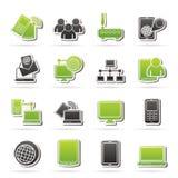 Icone dell'attrezzatura di tecnologia e di comunicazione Fotografie Stock Libere da Diritti