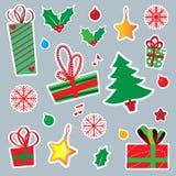 Icone dell'autoadesivo di Natale e del nuovo anno Fotografia Stock