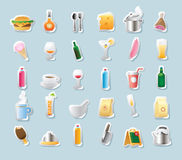 Icone dell'autoadesivo per alimento e le bevande royalty illustrazione gratis