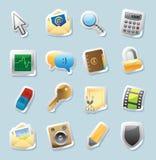 Icone dell'autoadesivo per i segni e l'interfaccia Fotografia Stock Libera da Diritti
