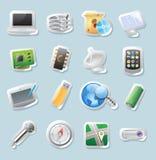 Icone dell'autoadesivo per tecnologia e le unità Immagini Stock