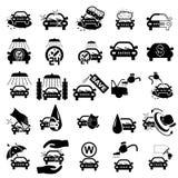 Icone dell'autolavaggio messe Fotografie Stock