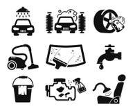 Icone dell'autolavaggio messe Immagini Stock