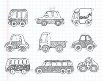 Icone dell'automobile di trasporto di scarabocchio Fotografia Stock