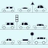 Icone dell'automobile Raccolta delle automobili nello stile del profilo royalty illustrazione gratis