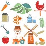 Icone dell'azienda agricola Fotografie Stock Libere da Diritti