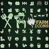 Icone dell'azienda agricola da gesso Immagine Stock Libera da Diritti