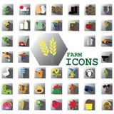 Icone dell'azienda agricola di colore Fotografia Stock Libera da Diritti