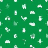 Icone dell'azienda agricola verdi e modello senza cuciture bianco Immagini Stock