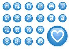Icone dell'azzurro del cerchio Immagini Stock