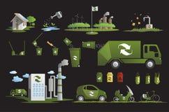 Icone dell'ecologia e ricicli royalty illustrazione gratis