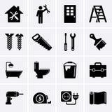 Icone dell'edificio, della costruzione e degli strumenti Fotografia Stock Libera da Diritti