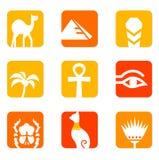 Icone dell'Egitto e blocchetto degli elementi di disegno. Fotografia Stock Libera da Diritti