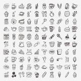 100 icone dell'elemento del caffè di scarabocchio messe Fotografie Stock