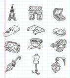 Icone dell'elemento di Parigi di scarabocchio Fotografia Stock