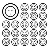Icone dell'emoticon dei fronti messe Immagine Stock