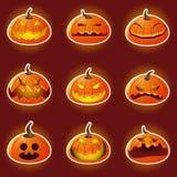 Icone dell'emoticon del carattere della zucca di Halloween Fotografie Stock Libere da Diritti