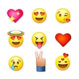 Icone dell'emoticon di giorno di biglietti di S. Valentino, insieme di emoji di amore illustrazione vettoriale