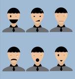 Icone dell'emozione dell'uomo nel vettore Fotografia Stock Libera da Diritti