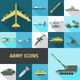 Icone dell'esercito piane illustrazione di stock